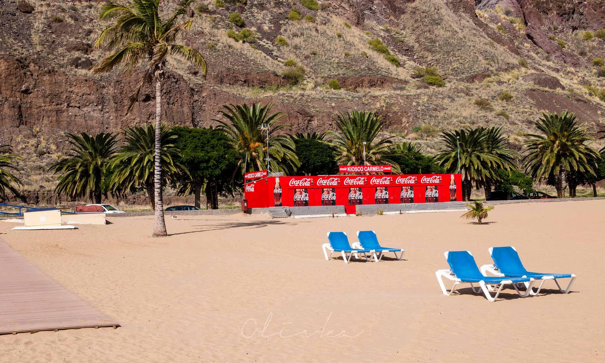 Playa Las Teresitas, żółta plaża na Teneryfie, najpiękniejsze plaże na Tenryfie, coca cola