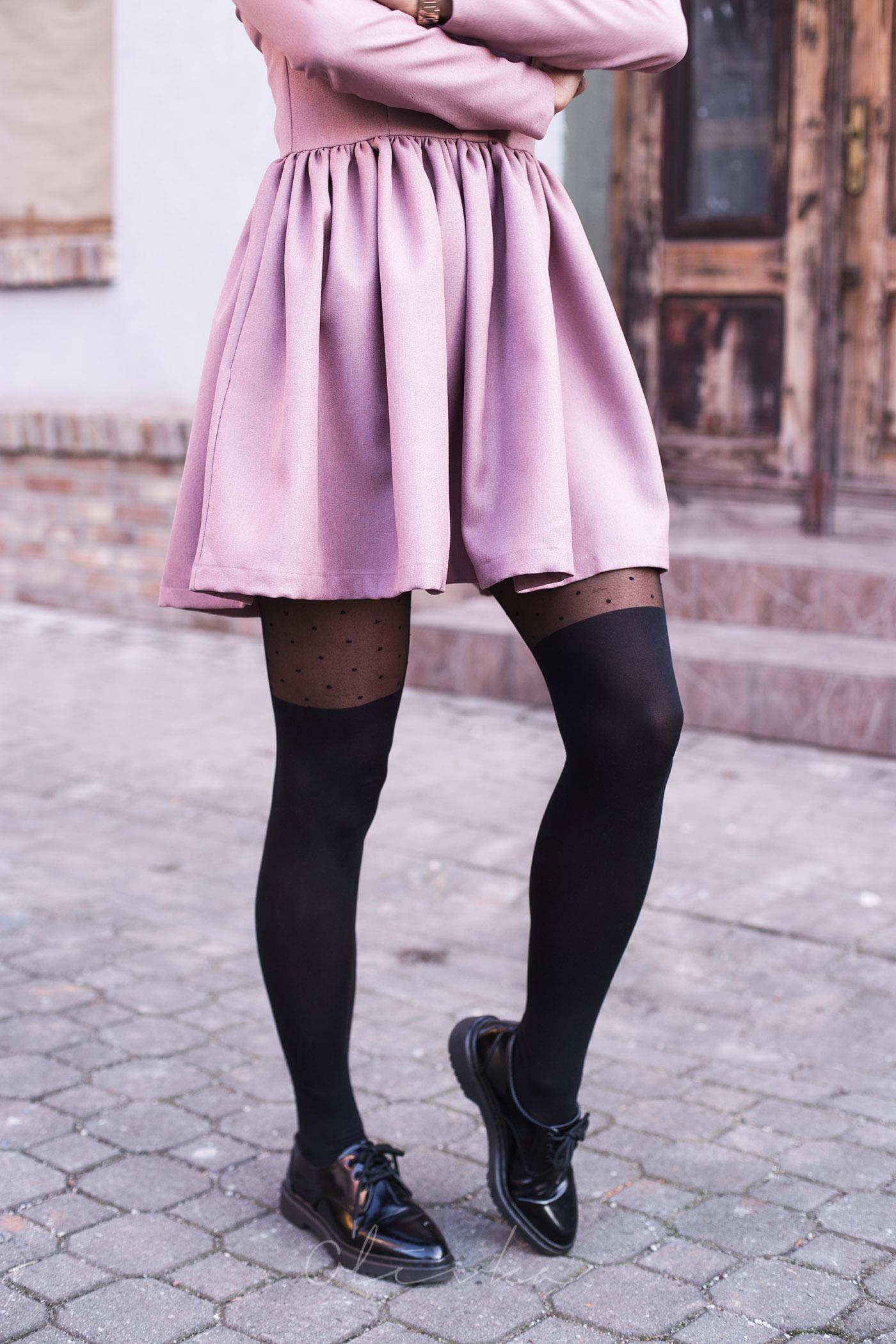Rajstopy w kropeczki gatta, buty zara, sukienka belette