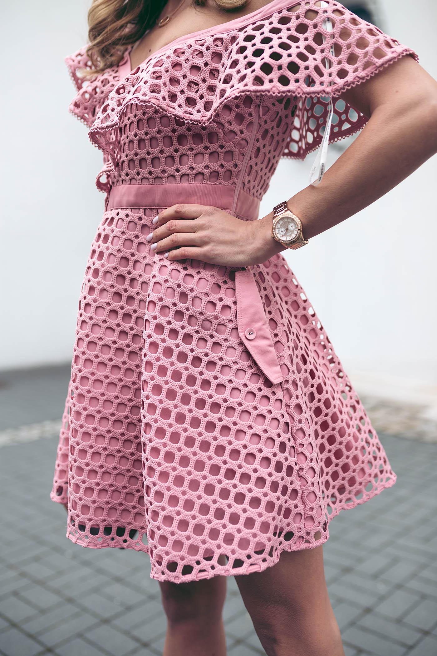 Sukienka Self Portrait, wypożyczalnia sukienek od projektantów, Self Portrait różowa, Love The Dress