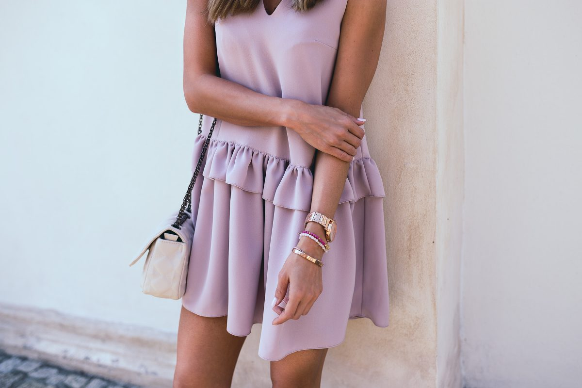 Pink dress & comfy sneakers