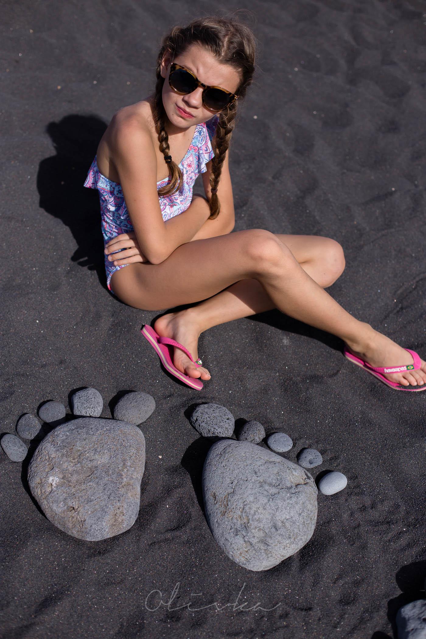 Wulkaniczny piasek o czarnym odcieniu