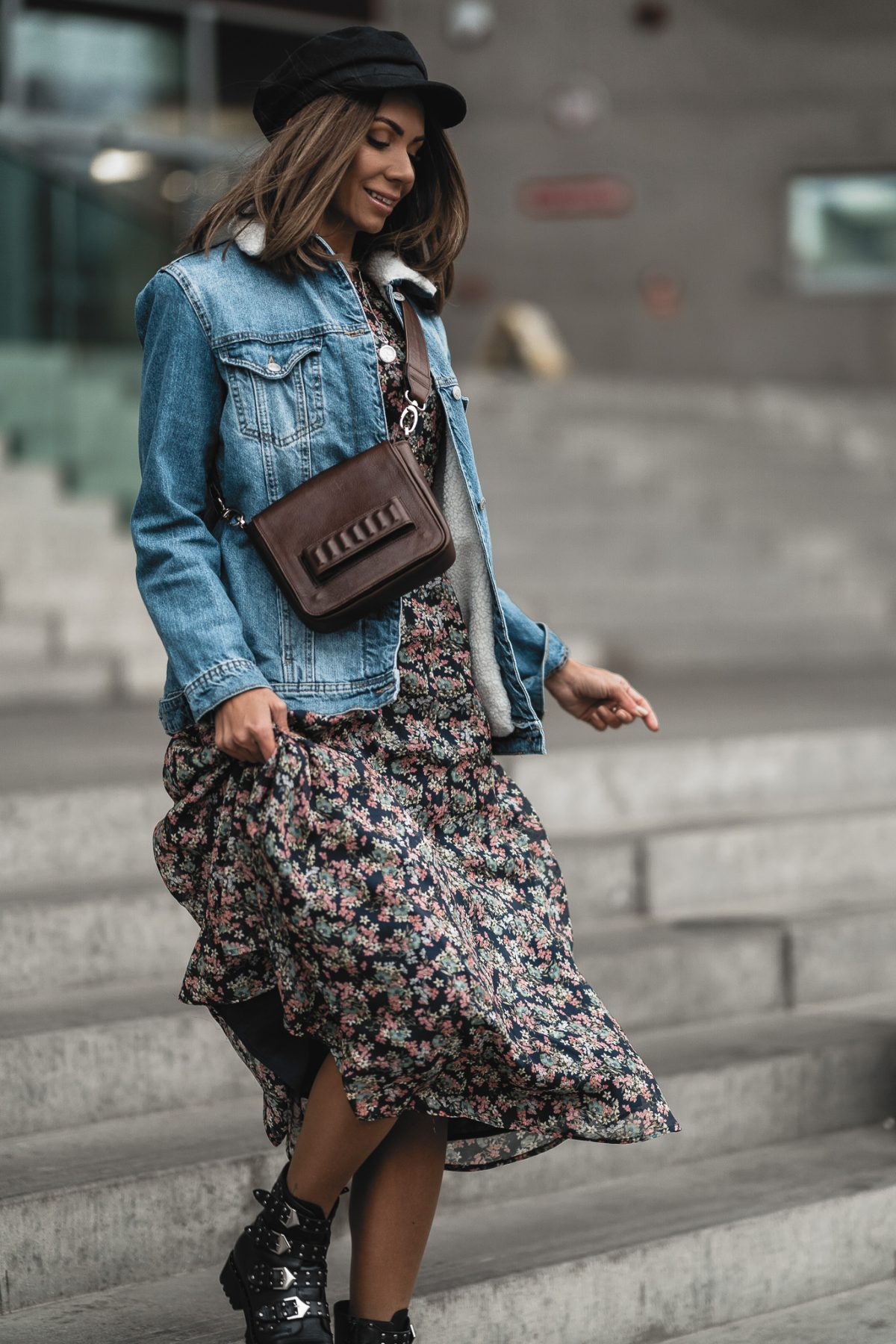 LONG DRESS & DENIM JACKET