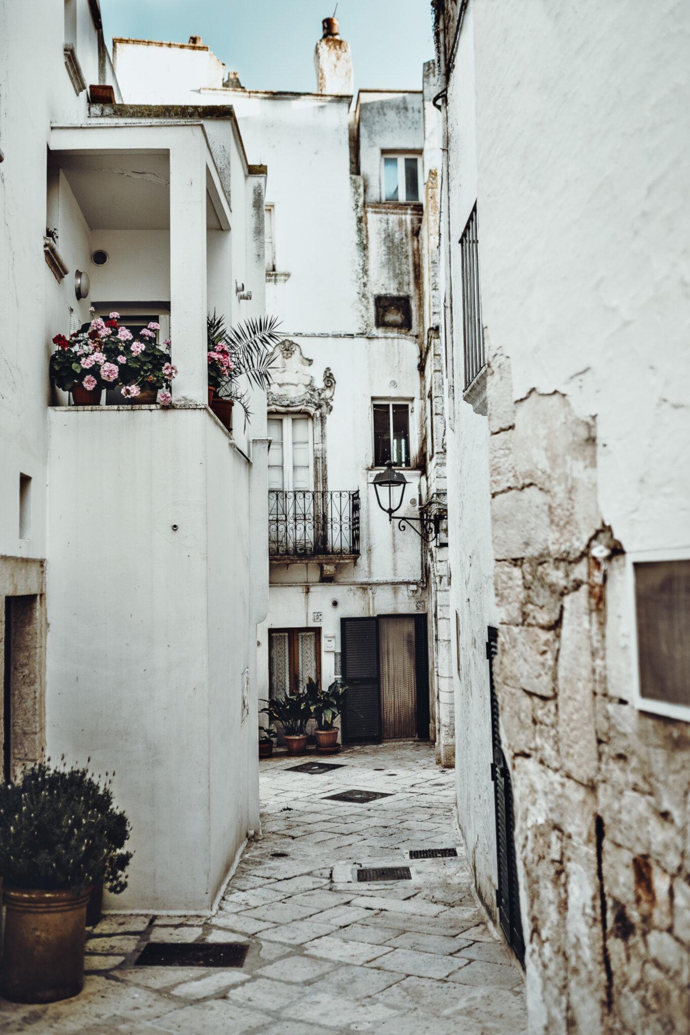 Białe domy w Locorotondo ozdobione kwiatami