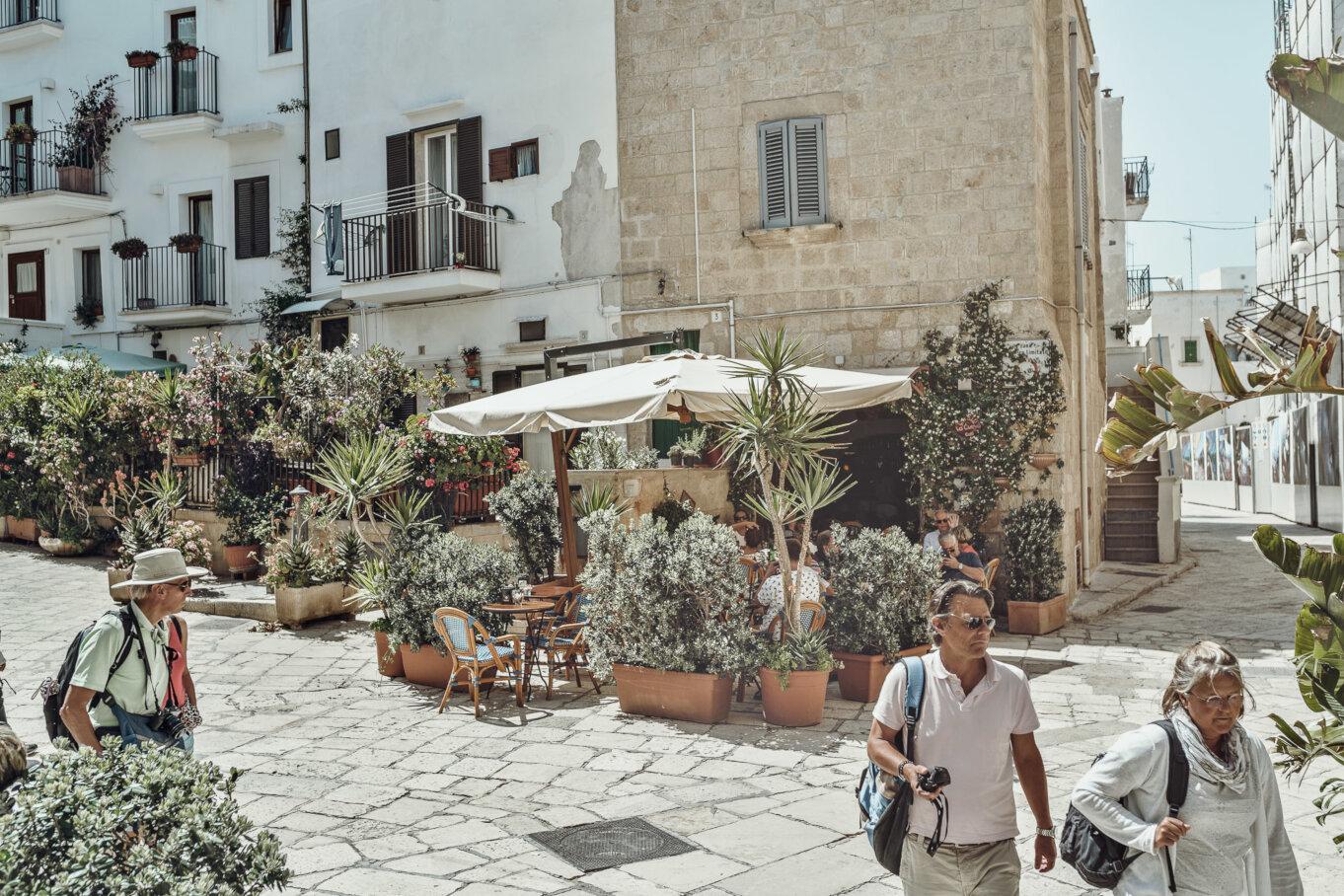 Centrum miasta wypełnione donicami pełnymi roślin