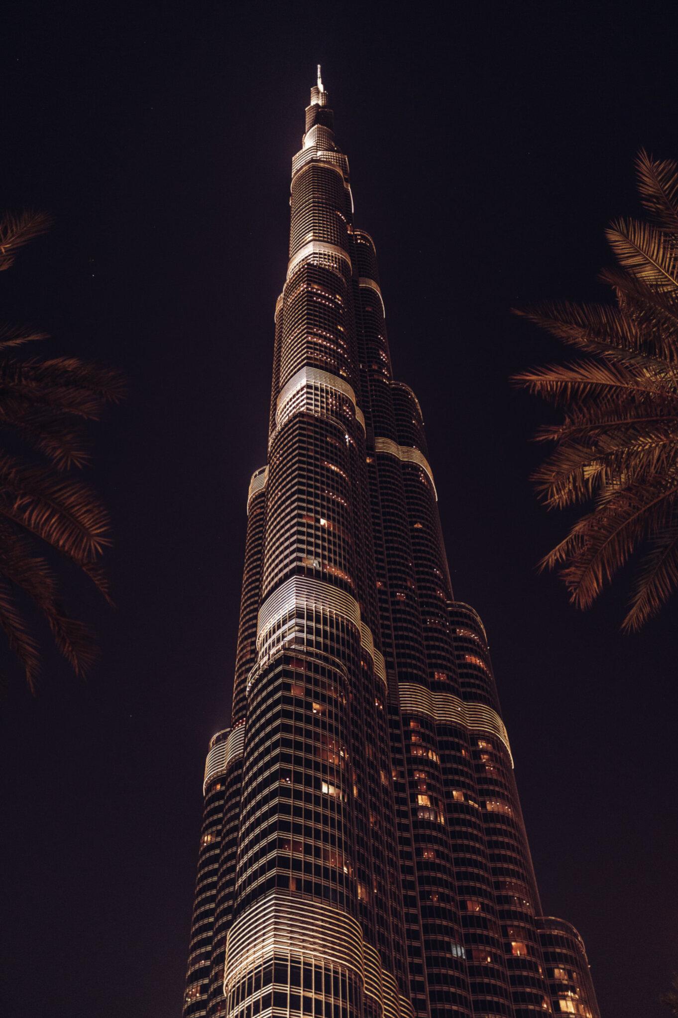 Burdż Chalifa w Dubaju nocą