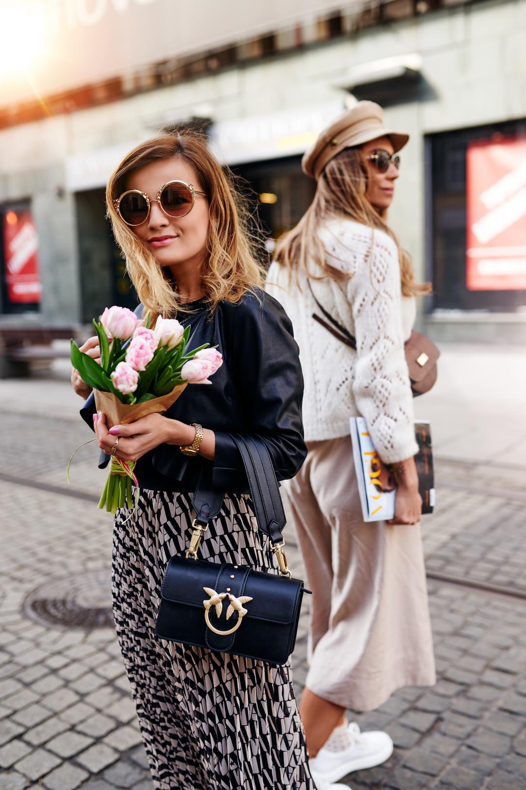 303 avenue sweter, massimo tutti spódnica, buty ryłko, fashionable