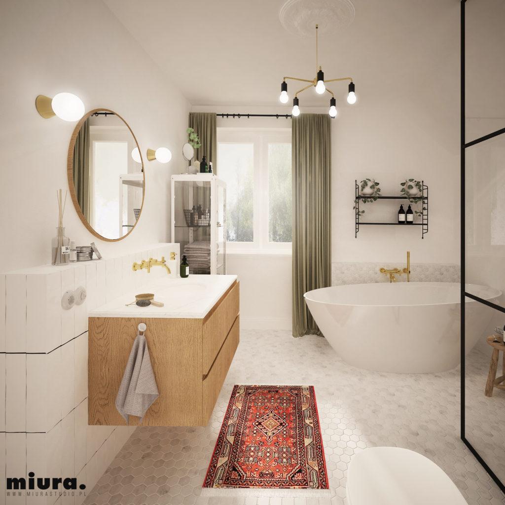 wizualizacja wnętrza łazienki, mix stylu klasycznego i minimalizmu