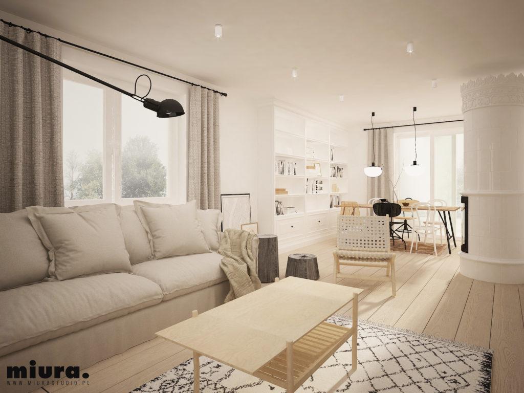 wizualizacja wnętrza salonu, biały piec kaflowy