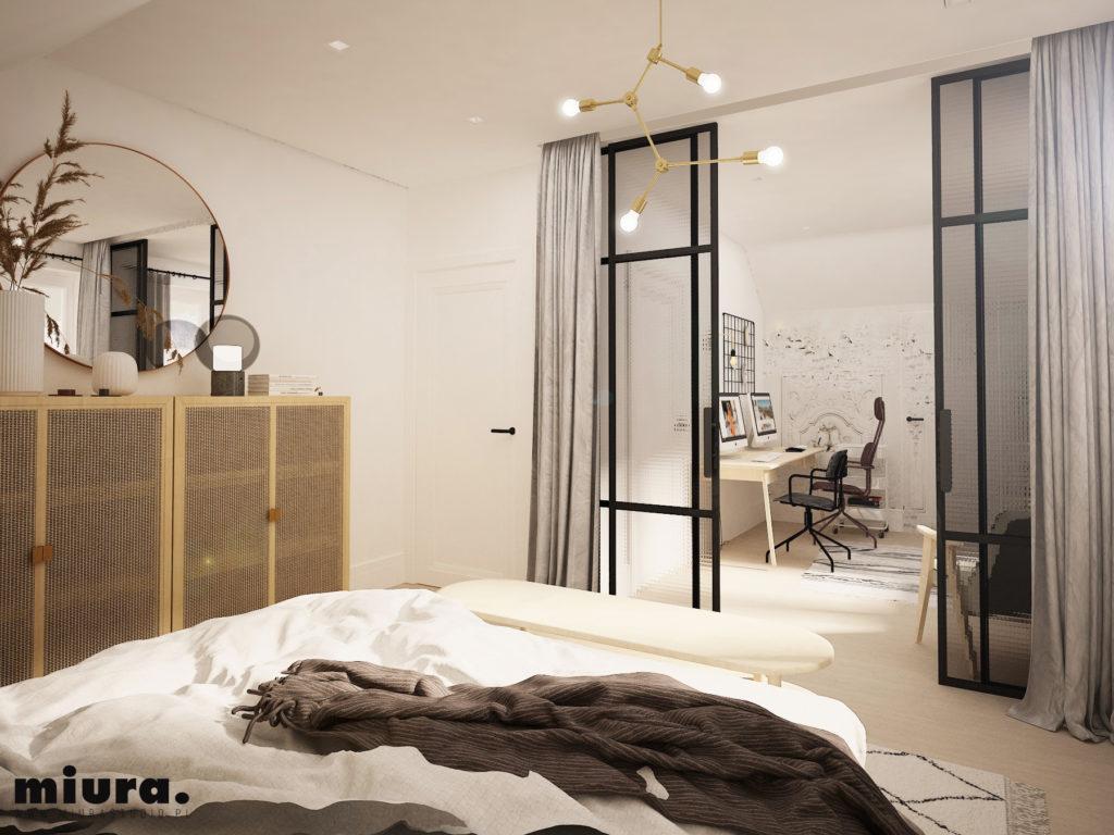 wizualizacja wnętrza sypialni z widokiem na gabinet