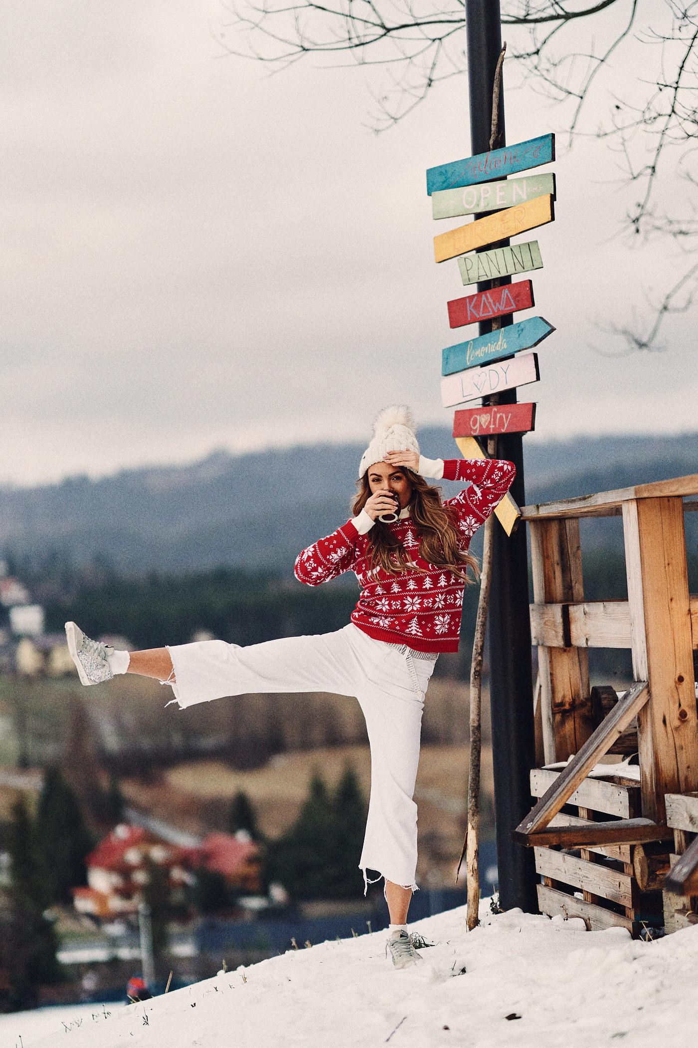 Świąteczny sweter, sweter Mosquito, zima w górach, Istebna